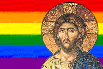 Affirming Ministry image with Jesus over a LGBTQ rainbow flag.