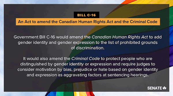 BILL C-16: An Act to amend the Canadian Human Rights Act and the Criminal Code