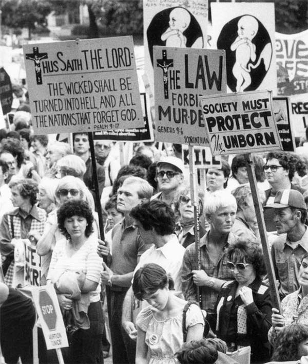 October 2, 1983: Anti-abortion demonstrators gather at Queen's Park in Toronto. (Thomas Szlukovenyi/The Globe and Mail)